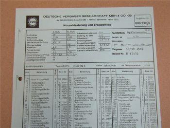 Pierburg 35/40 INAT Ersatzteilliste Normaleinstellung Opel Commodore 28 SC ab 73