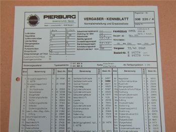 Pierburg 35/40 INAT Ersatzteilliste Normaleinstellung Opel Commodore B 2500 GS