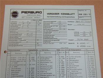 Pierburg 35/40 INAT Ersatzteilliste Normaleinstellung Opel Commodore GS ab 5/71