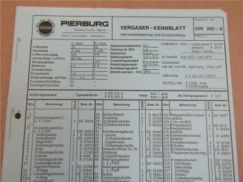 Pierburg 35/40 INAT Ersatzteilliste Normaleinstellung Opel Commodore Admiral B28