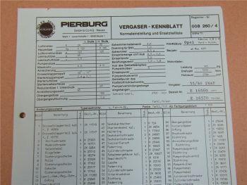 Pierburg 35/40 INAT Ersatzteilliste Normaleinstellung Opel Admiral 2,8l H