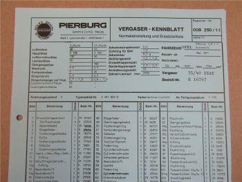 Pierburg 35/40 INAT Ersatzteilliste Normaleinstellung Opel Admiral 2,8l S Autom.