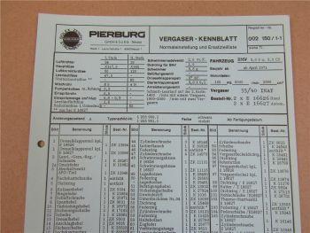 Pierburg 35/40 INAT Vergaser Ersatzteilliste Normaleinstellung BMW 3,0 S CS