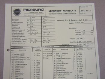 Pierburg 35 EEIT Vergaser Ersatzteilliste Normaleinstellung Ford Taunus 2,3l HC