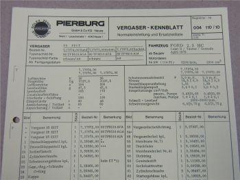 Pierburg 35 EEIT Ersatzteilliste Normaleinstellung Ford Capri II Taunus Granada