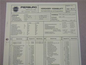 Pierburg 35 EEIT Ersatzteilliste Normaleinstellung Ford Capri II ab 4/1978