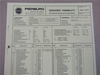 Pierburg 35 EEIT Ersatzteilliste Normaleinstellung Ford Capri II 2,3l HC ab 4/76