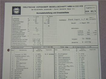 32 TDID Vergaser Ersatzteilliste Normaleinstellung Ford Capri 1,7 HC  ab 8/71