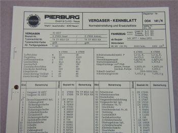 Pierburg 32EEIT Ersatzteilliste Normaleinstellung Ford Capri II Taunus Granada
