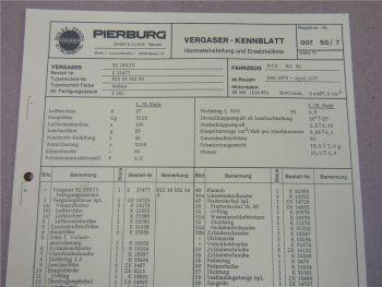 Pierburg 32 DDITS Vergaser Ersatzteilliste Normaleinstellung NSU RO 80 1975-77