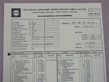 DVG 32 DDITS Vergaser Ersatzteilliste Normaleinstellung NSU RO 80 Europa ab 2/73