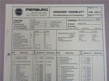 Pierburg 35 PDSI Vergaser Ersatzteilliste Normaleinstellung Opel Ascona Manta
