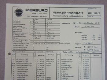 Pierburg 35PDSI Vergaser Ersatzteilliste Normaleinstellung Opel Ascona Manta 16N