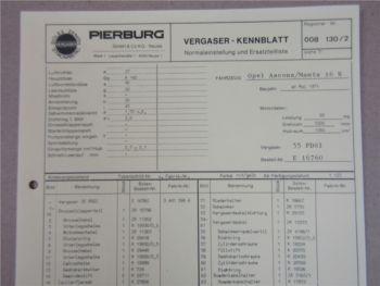 Pierburg 35PDSI Vergaser Ersatzteilliste Normaleinstellung Opel Ascona u. Manta