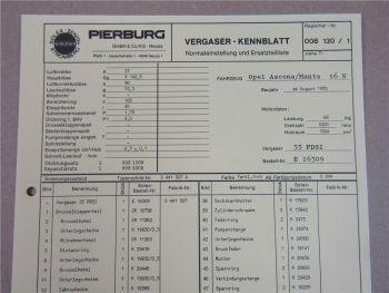 Pierburg 35PDSI Ersatzteilliste Normaleinstellung Opel Ascona Manta 16N ab 8/70