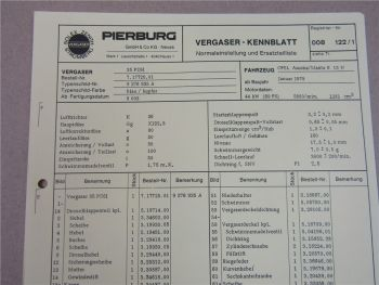 Pierburg 35PDSI Ersatzteilliste Normaleinstellung Opel Ascona Manta B13N