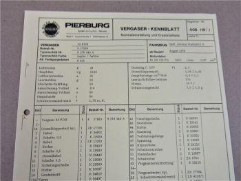 Pierburg 35PDSI Ersatzteilliste Normaleinstellung Opel Ascona Manta B12N ab 8/76