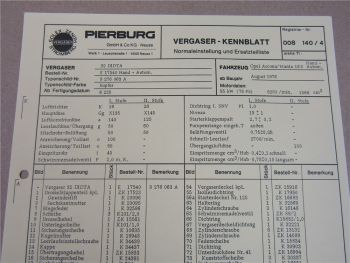 Pierburg 32DIDTA Ersatzteilliste Normaleinstellung Opel Ascona Manta 16S ab 8/76