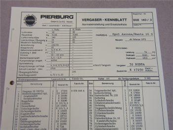Pierburg 32DIDTA Ersatzteilliste Normaleinstellung Opel Ascona Manta 16S ab 2/75