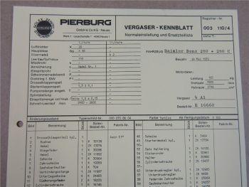 Pierburg 4A1 Vergaser Ersatzteilliste Normaleinstellung Daimler Benz 280 280C