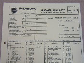 Pierburg 4A1 Ersatzteilliste Normaleinstellung Daimler Benz 280 280C ab 4/73