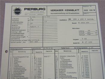 Pierburg 4A1 Ersatzteilliste Normaleinstellung Daimler Benz 280 280C Autom ab 74