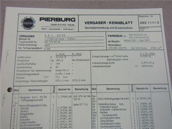 Pierburg 4A132/54 Ersatzteilliste Normaleinstellung Daimler Benz 280 S W 123 116