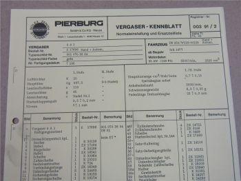 Pierburg 4A1 Ersatzteilliste Normaleinstellung Daimler Benz 250 W123 ab 7/77