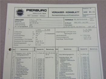 Pierburg 4A1 32/54 Ersatzteilliste Normaleinstellung Daimler Benz 250 W123