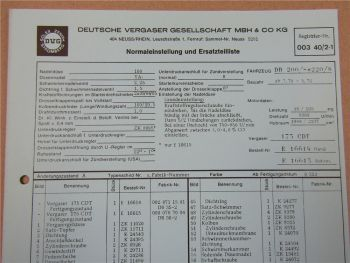 Zenith 175CDT Ersatzteilliste Normaleinstellung Daimler Benz 200 220 /8 Strich 8