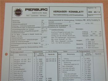 Pierburg 175CDT Ersatzteilliste Normaleinstellung Daimler Benz 200 220 /8