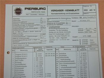 Pierburg 175CDT Ersatzteilliste Normaleinstellung Daimler Benz 200 und 220 /8