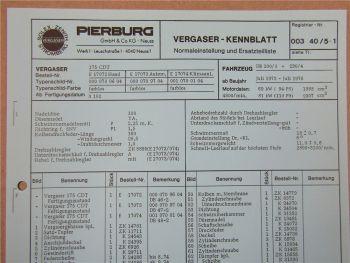 Pierburg 175 CDT Ersatzteilliste Normaleinstellung Daimler Benz 200 /8 230 /4