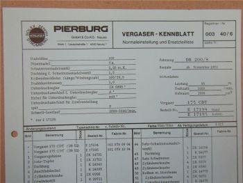 Pierburg 175 CDT Ersatzteilliste Normaleinstellung Daimler Benz 200 /8 ab 11/73