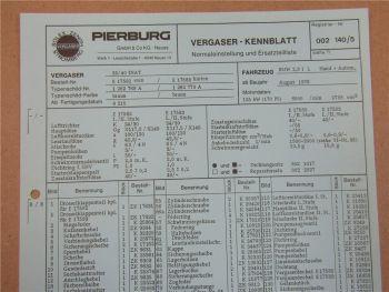 Pierburg 35/40 INAT Vergaser Ersatzteilliste Normaleinstellung BMW 2,8l ab 8/76