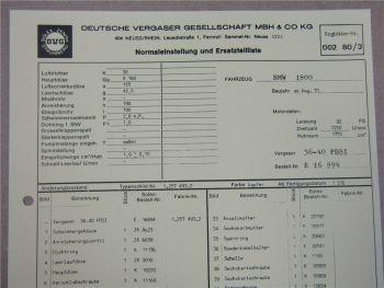 Solex 36 - 40 PDSI Vergaser Ersatzteilliste Normaleinstellung BMW 1800 ab 8/71