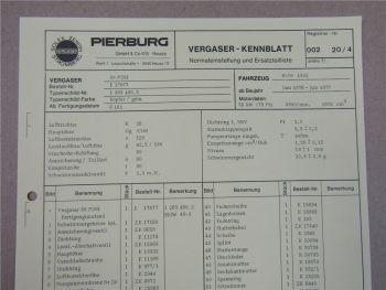 Pierburg 38 PDSI Vergaser Ersatzteilliste Normaleinstellung BMW 1502 1976-77