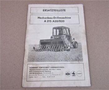 Fortschritt A215 A20 B20 Heckanbau Drillmaschine Ersatzteilliste Ersatzteilkatal
