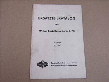 VEB Fortschritt K 711 Walzenkartoffelsortierer Ersatzteilliste 6/1980