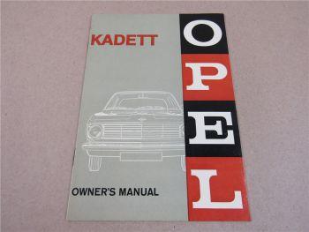 Opel Kadett B Owners Manual Betriebsanleitung in englisch ca 1965
