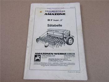 Amazone D 7 Super S Drillmaschine Sätabelle Saattabelle 1984
