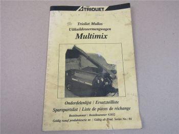 Trioliet Multimix Ersatzteilliste Ersatzteil-Bildkatalog mit Schaltplänen
