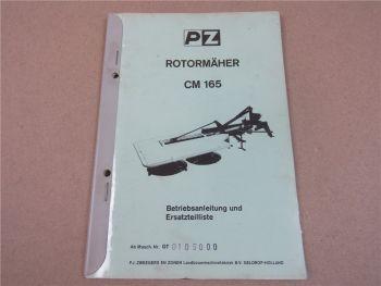 PZ Zweegers CM1650 Rotormäher Betriebsanleitung Ersatzteilliste