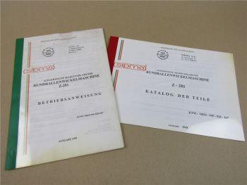 sipma Z-281 Rundballenwickelmaschine Bedienungsanleitung Ersatzteilliste 1998