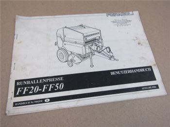Feraboli FF20 FF50 Rundballenpresse Bedienungsanleitung Betriebsanleitung 1995