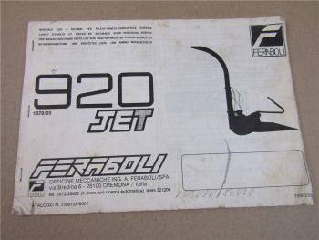 Feraboli 920 JET Maishäcksler Bedienungsanleitung Ersatzteilliste ca 1985