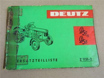 Deutz D50S D55 Traktor Ersatzteilliste Ersatzteilkatalog 1964 Parts List