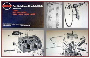 Eicher G25 G30 G40 G220 G250 G300 G400 Geräteträger Ersatzteilliste