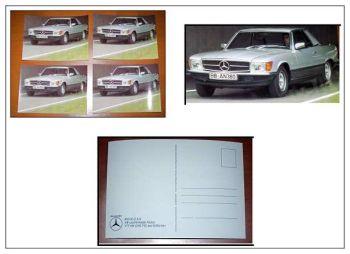 Mercedes Benz 450 SLC 5.0 W107 Postkarte 4 Stück