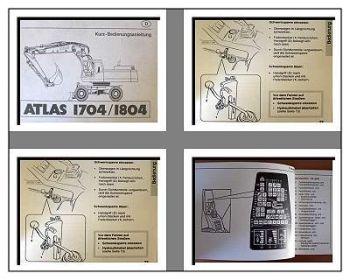 Atlas 1704, 1804 Mobilbagger Kurz - Betriebsanleitung